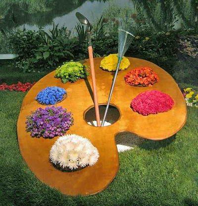 Клумбы и цветники из подручных материалов в детский сад